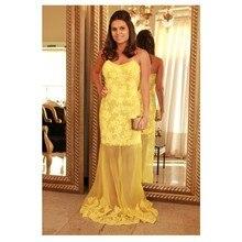 Tidetell party Kleid Neueste Gerade Liebsten Zipper-Up Zurück Lange Abendkleid Spitze Yellow Prom Kleider 2016 Vestido De Novia