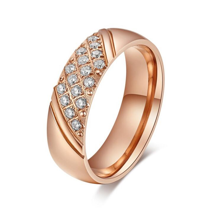 2016 hot Titanium steel ring rose gold lover ring 6mm wedding carter jewelry crystal present for women Carter ring Low priced