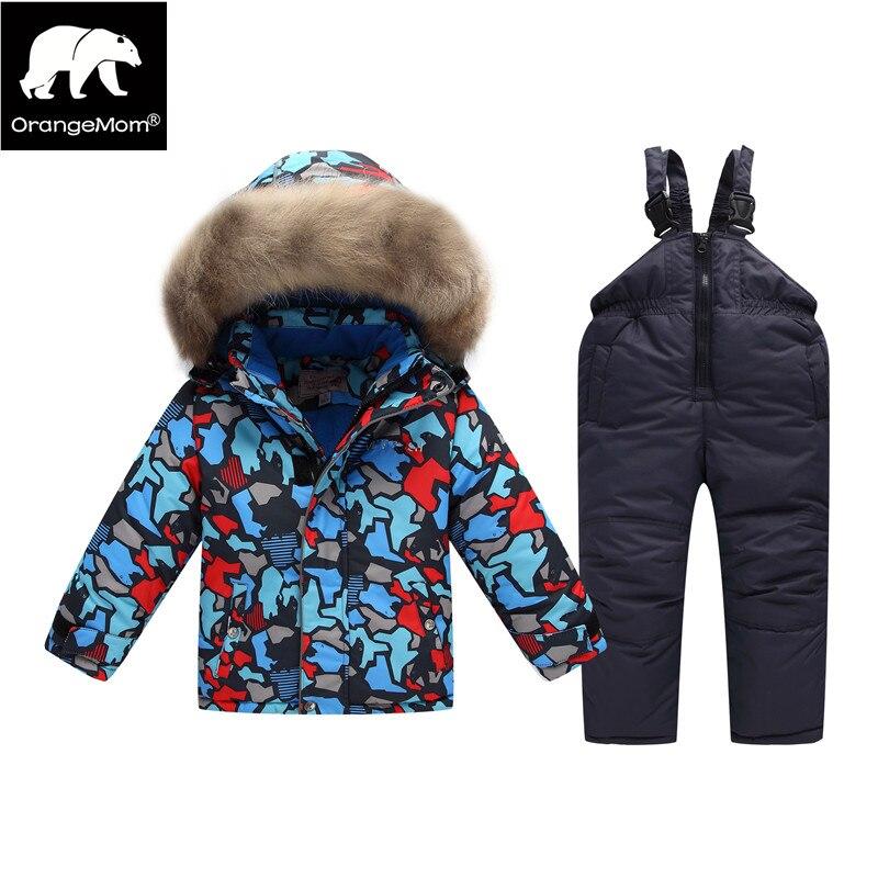 Orangemom/русский зимний костюм для мальчика Детская ветровка Зимняя одежда теплая куртка пальто для мальчиков kinder парки детская Лыжная одежда