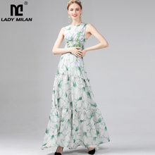 Lady Milan 2019 Womens O Neck Sleeveless Embroidery Printed Party Wear Elegant Ruffles Long Runway Designer Dresses