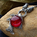Long Baolong authentic 925 sterling silver jewelry fashionable red corundum Necklace Pendant New special lady fish
