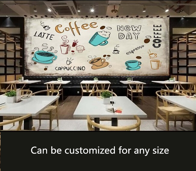 custom vintage wallpaper hand drawn coffee element mural for the living room bedroom tv. Black Bedroom Furniture Sets. Home Design Ideas