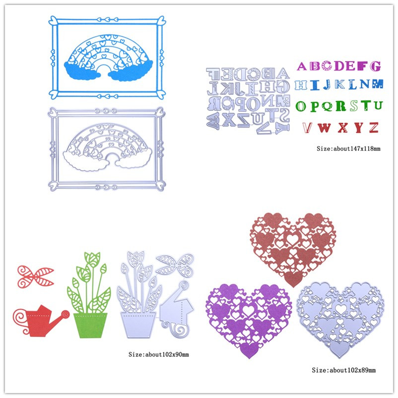 Rainbow Frame/Bee Fruit/Heart-Shaped Birdcage Metal Cutting Die Embossing Stencil for DIY Scrapbooking Card Makeing Cutter Dies