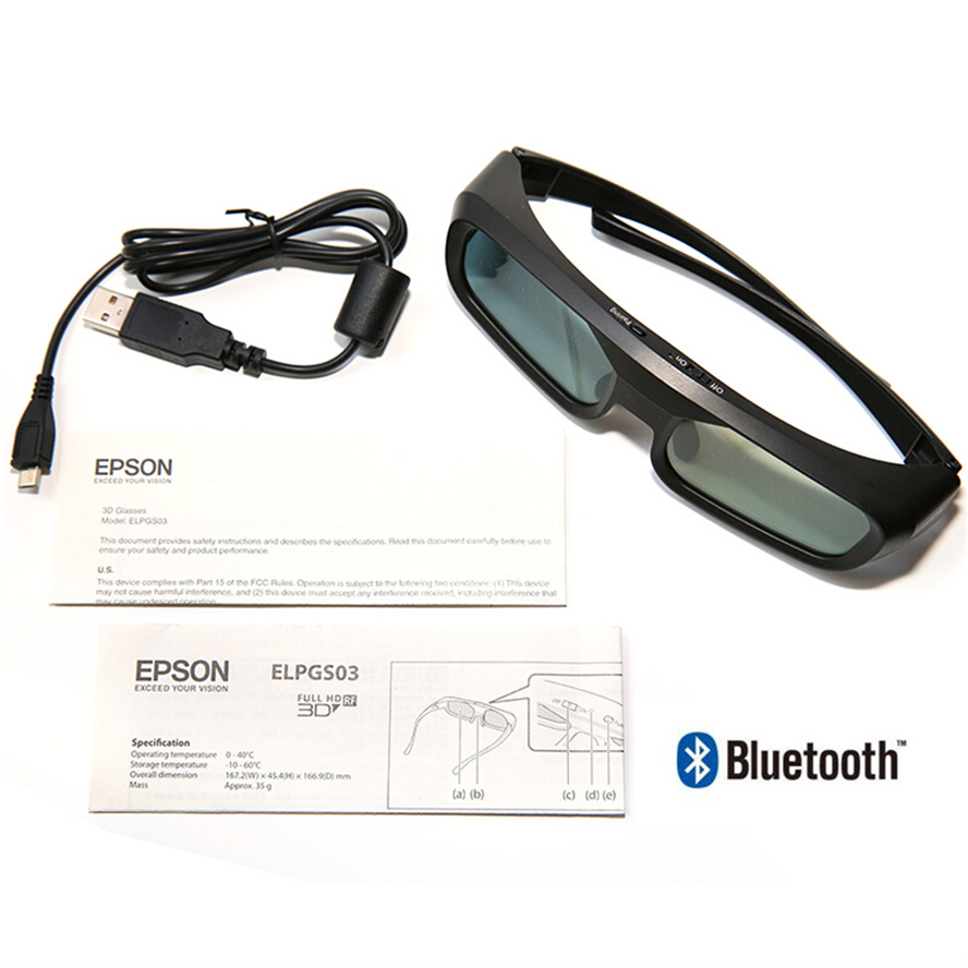 New product Active 3D bluetooth RF Glasses Eyewear for Epson LCD 3D Projectors tw5200 tw8515 tw6510