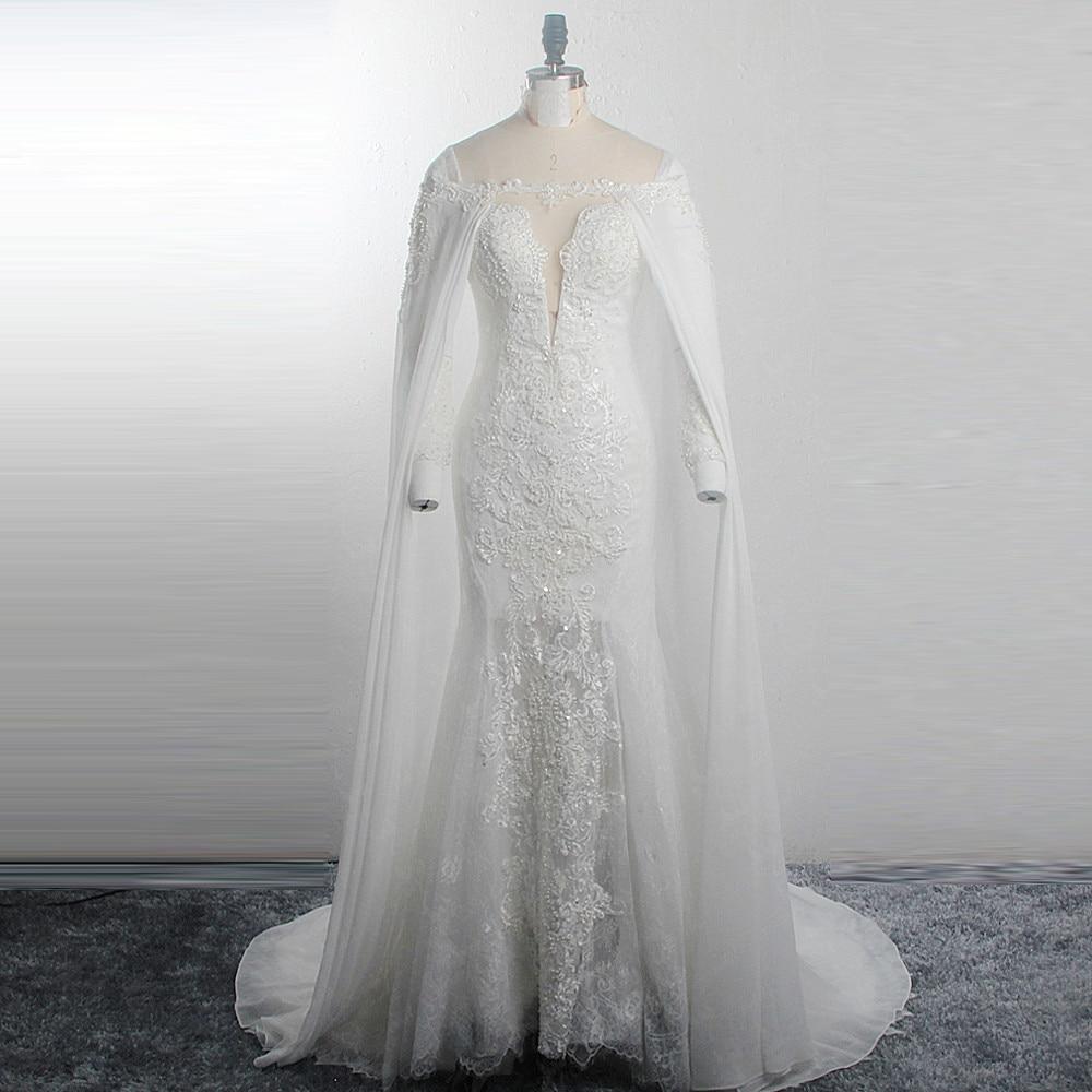 RSW1514 étoiles scintillantes motifs de lune robes de mariée ceinture en or manches longues col en V profond une ligne Tulle robes de mariée