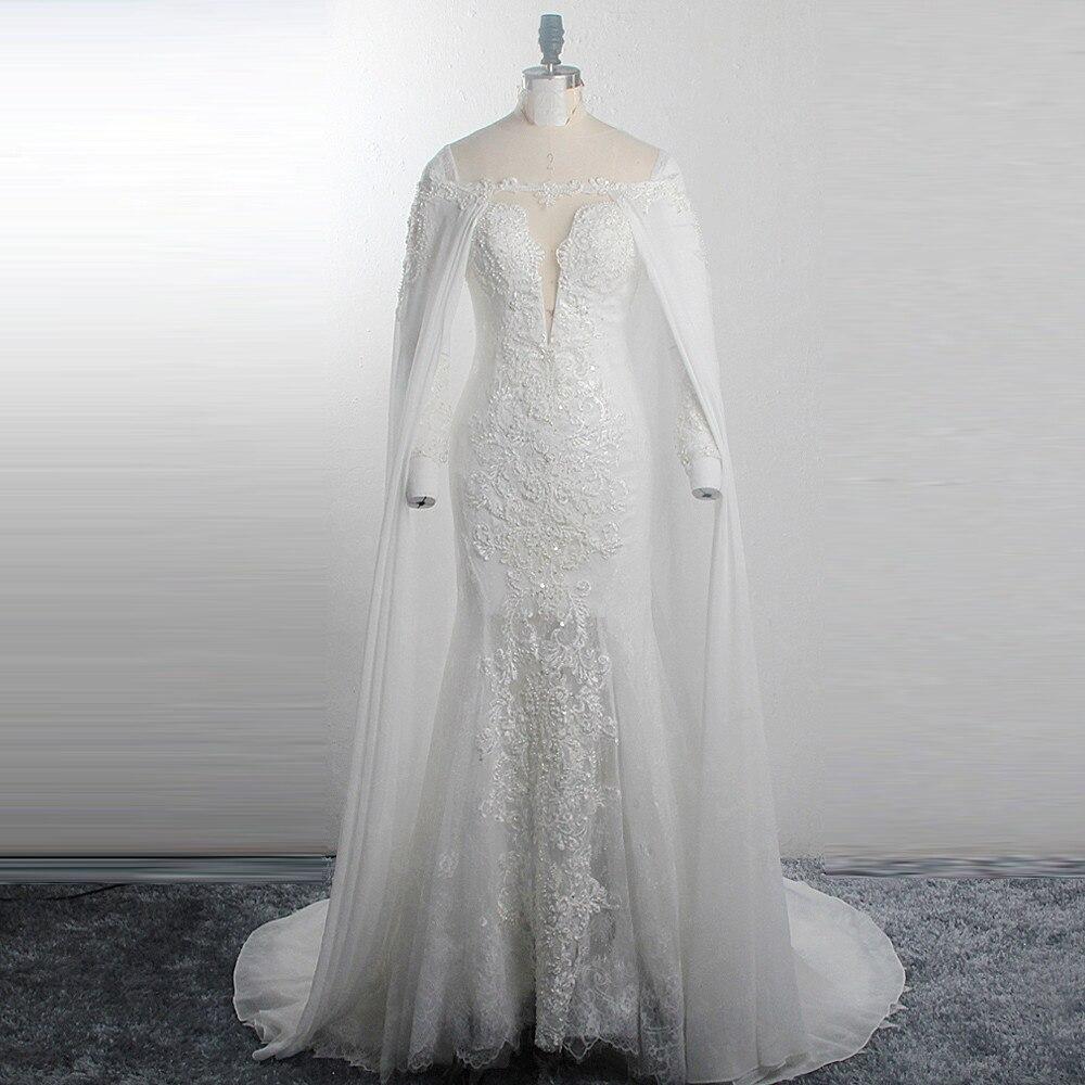 RSW1514 Sparkly Estrelas Lua Padrões Vestidos de Noiva Cinto de Ouro Mangas Compridas Profundo Decote Em V UMA Linha Tulle Nupcial Vestidos de Casamento