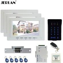 """JERUAN lujo 7 """"TFT de Vídeo Sistema de Videoportero de Intercomunicación 3 monitor Táctil RFID A Prueba de agua Cámara de La llave + Remoto de control Abierto"""