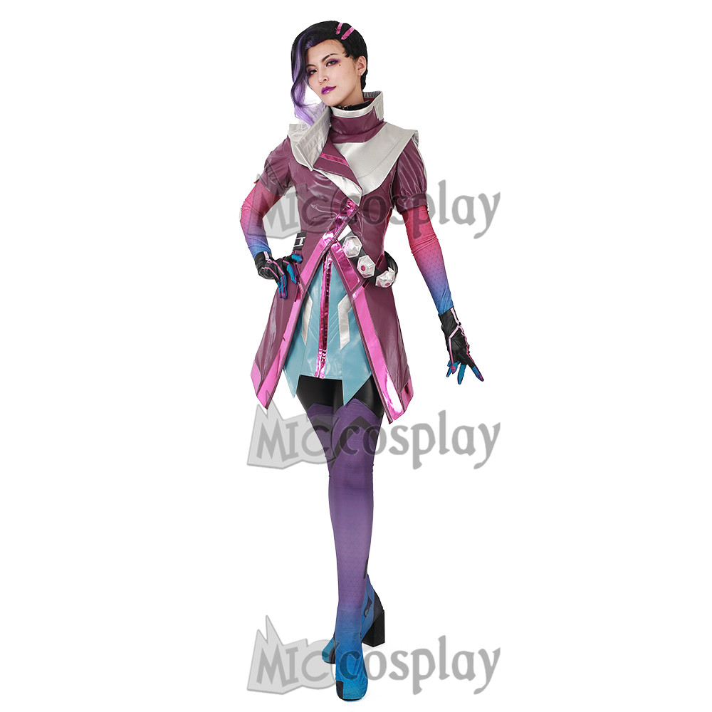 Sombra Cosplay Costume Women Purple Clothing Jumpsuit Coat