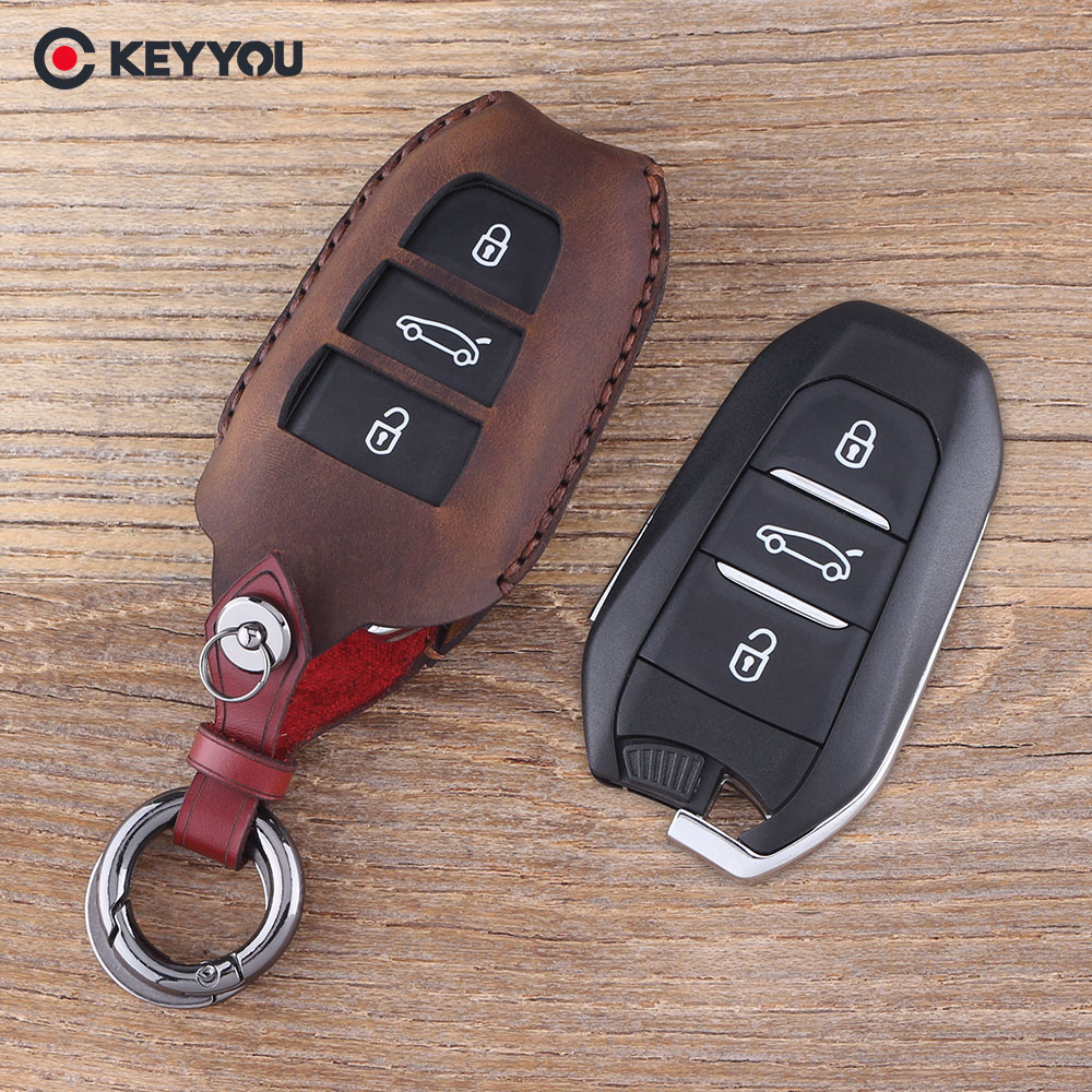 KEYYOU Genuine Leather Car Key Case Cover holder For Peugeot 508 301 2008 3008 4008 407 408 For Citroen C5 C6 C4L CACTUS C3XR DS free shipping zinc alloy leather cover case car styling smart key shell for peugeot 2008 3008 4008 308s 408 508 car remote