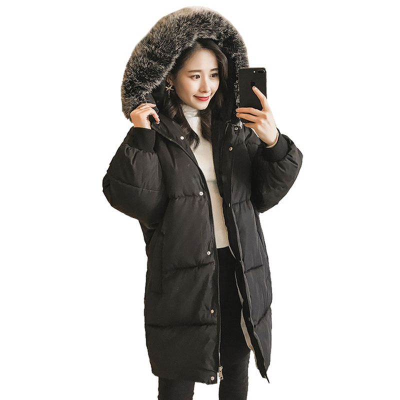 2017 Winter Women Long Jacket Large Faux Fur Collar Cotton Coats Slim Hooded Parkas Snow Wear Female Jacket Overcoats FP0046 snow wear 2017 high quality winter women jacket cotton coats fur collar hooded parkas fashion long thick femme outwear cm1346