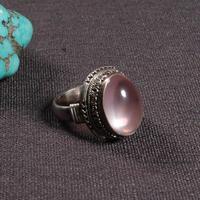 #8,25 ручной работы непальское 925 Серебряное кольцо тибетское кольцо из стерлингового серебра 925 Серебряное розовое богемское кольцо