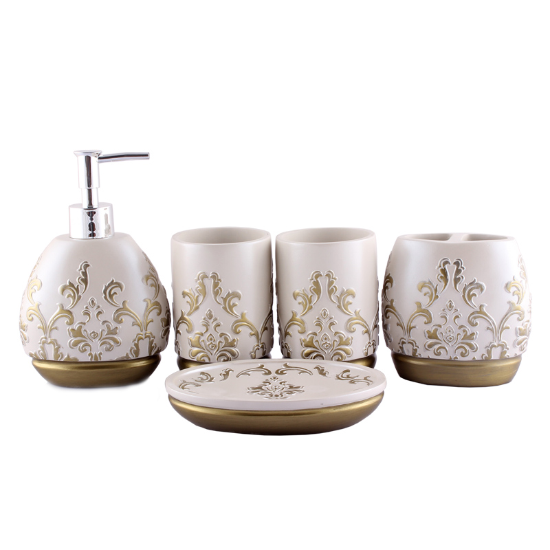 luxurious fashion bathroom accessories bath sets resin