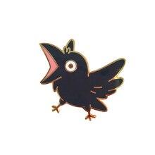 Кричащая ворона эмалированная булавка переходная художественная брошь Ворон черная птица Нагрудный значок милый колдовский аксессуар