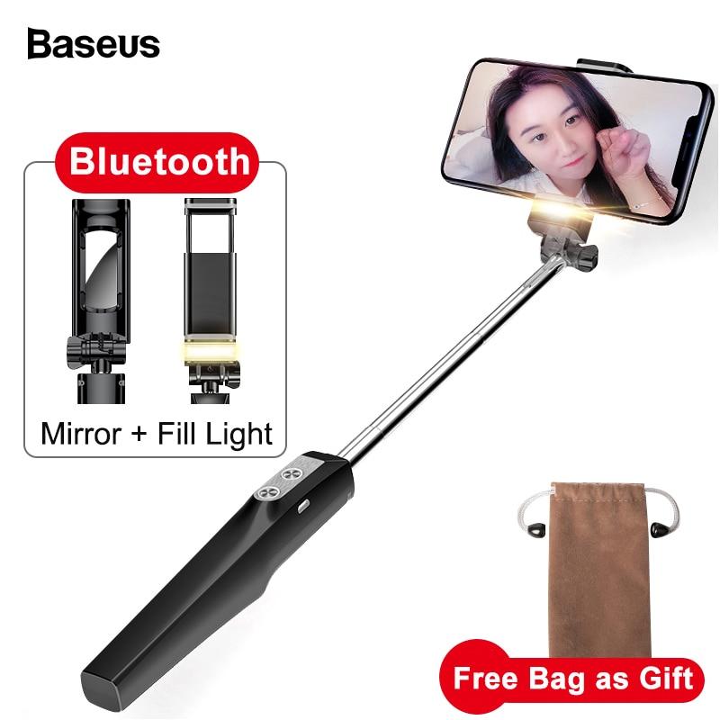 Baseus Selfie Bastone Bluetooth Monopiede con Led Luce del Flash di Riempimento Posteriore Specchio Selfiestick Per il iphone Samsung Xiaomi Android Telefoni