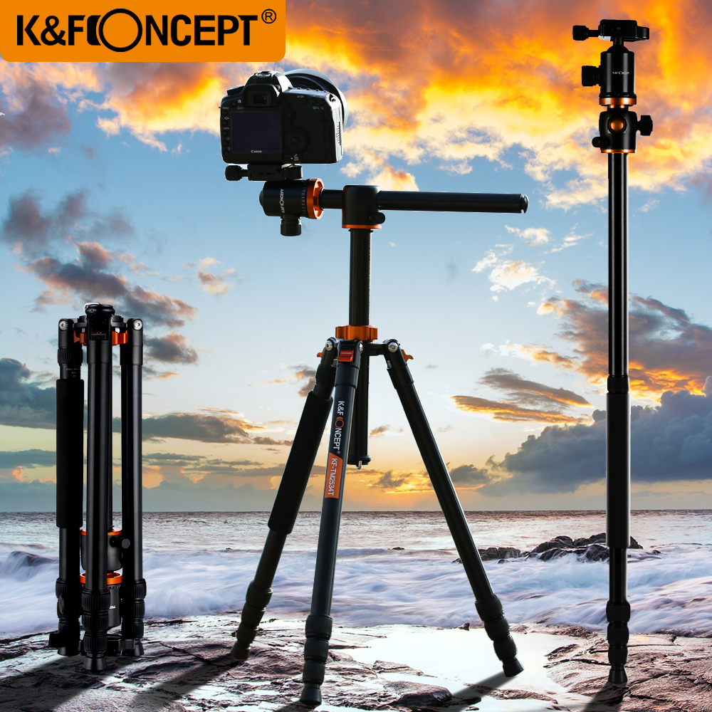 K F CONCEPT 72 Professional Camera Tripod Stand Travel Portable Monopod Ball Head 360 Level Scale