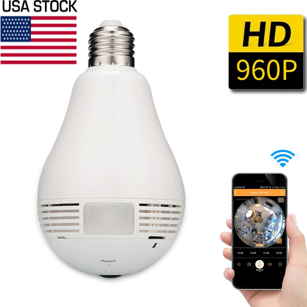 360 degree Panoramic 960P Hidden wifi Camera Light Bulb Mini Security IP Camera ...