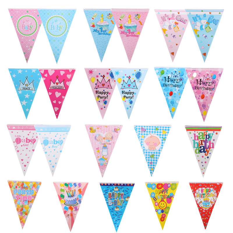 1pcs Happy Birthday Banners Pulling Flag Welcome Baby Crown Balloons Hanging Flags Its A Boy Girl Birthday Party Decor