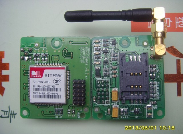 Value SIM900A module with a small board with antenna , wrapped
