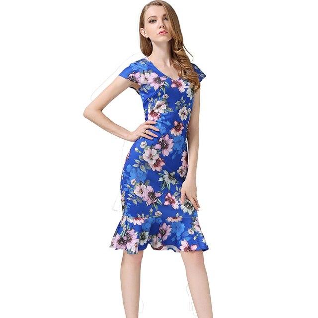 Buenos Ninos Womens Bodycon Dresses New Vintage Spring Summer Office Blue  Black V-Neck Floral Printed Mermaid Pencil Midi Dress c212f320b6