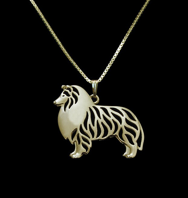 1 copë ari dhe argjendi 1 gjerdan Shetland Sheepdog Sheets 3D Cut Out Dog Dupty Puppy Dog Pendant Memorial Memorial Pendants Christmas