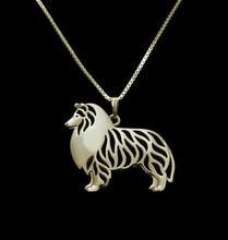 Gold &silver 1pcs Standing Shetland Sheepdog Necklace 3D Cut Out Dainty Puppy Dog Pendant Memorial Necklaces Pendants Christmas