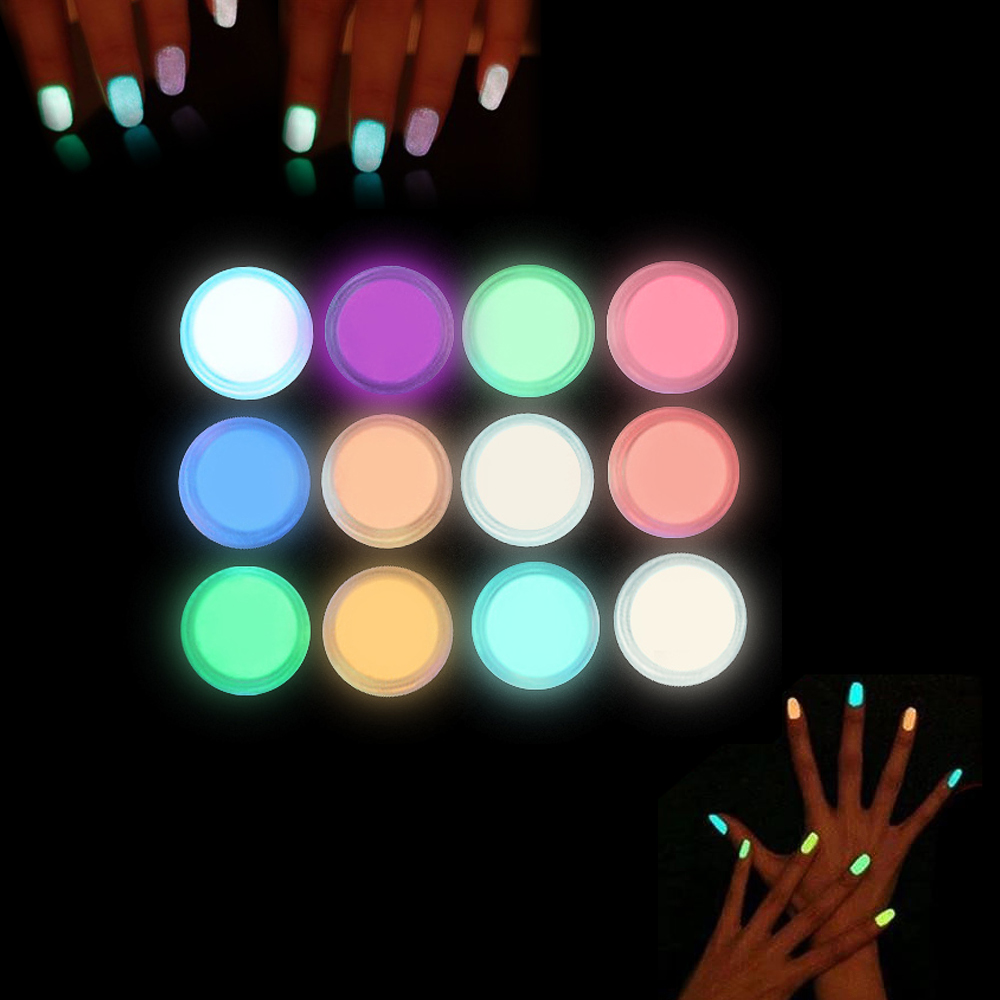 1 KG en gros en vrac lueur dans la poudre sombre 12 couleurs effet Fluorescent poudre lumineuse longue durée lueur poudre ongles poussière