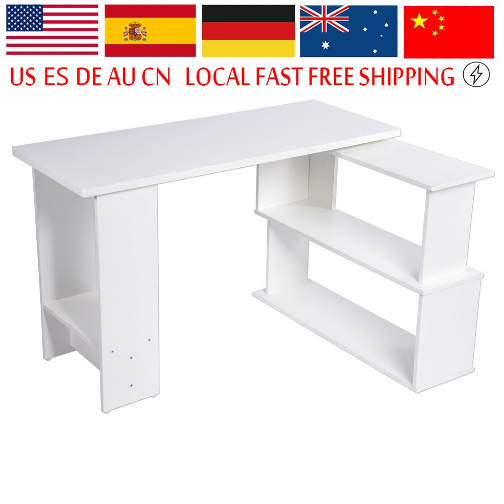 Office Computer Table Environmental PC Laptop Desk With Folding Corner Book Shelf Large Capacity Home Computer Desk