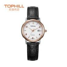 2016 Tophill Mujer Reloj de Cuarzo Ocasional Banda de Cuero Genuino Hebilla De Acero Inoxidable Cubierta de Cristal de Zafiro Resistente Al Agua Reloj de Pulsera