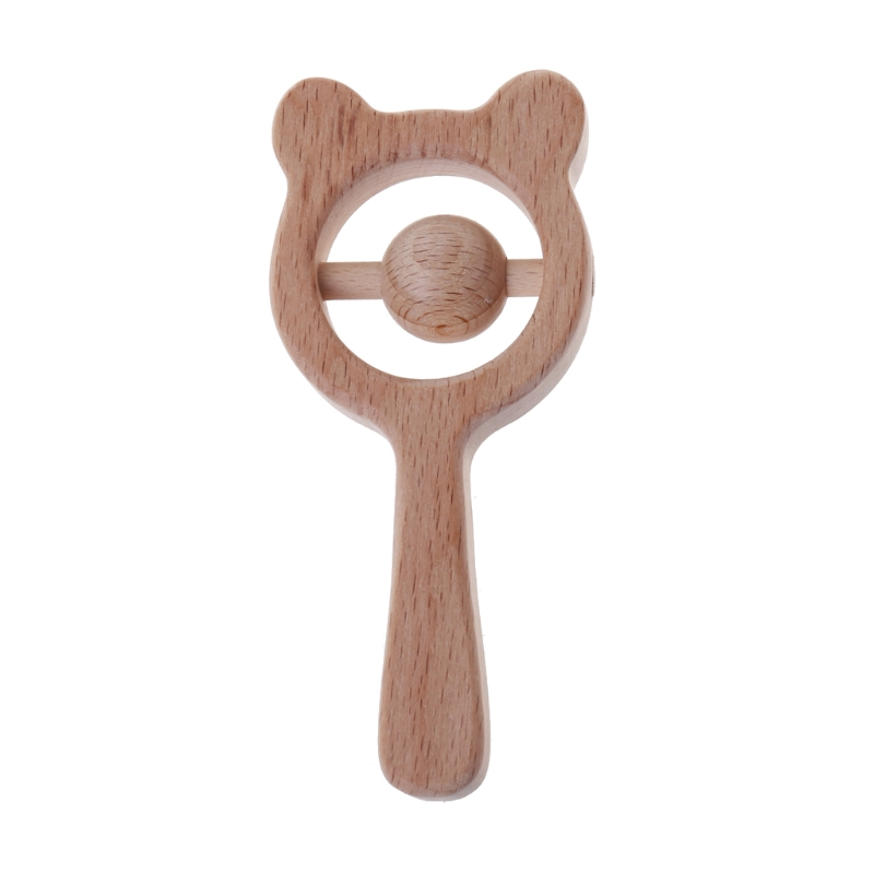 Baby Toys Beech Wood Bear Hand Teething Wooden Ring Baby Rattles Play Gym Montessori Stroller Toys