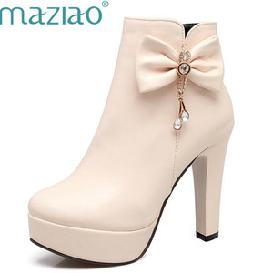 MAZIAO big size 33 -43 autumn winter high quality pu women boots thick high heels round toe platform ziper Bowknot ankle boots(China)