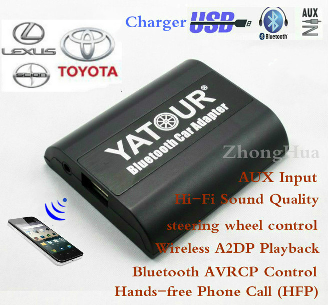 Yatour for Toyota Avensis Avalon Camry Lexus LS460 Scion YT-BTA Bluetooth Hands-free Phone AUX 6+6 plug Car Adapte Free shipping yatour car adapter aux mp3 sd usb music cd changer 6 6pin connector for toyota 4runner avalon avensis auris camry radios