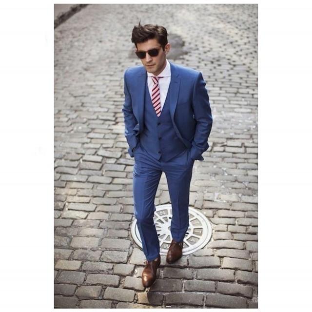 Envío Gratis mens trajes Azul Trajes de Boda Para Hombre Trajes Muesca Solapa Del Padrino de boda Esmoquin Hombres traje Masculino