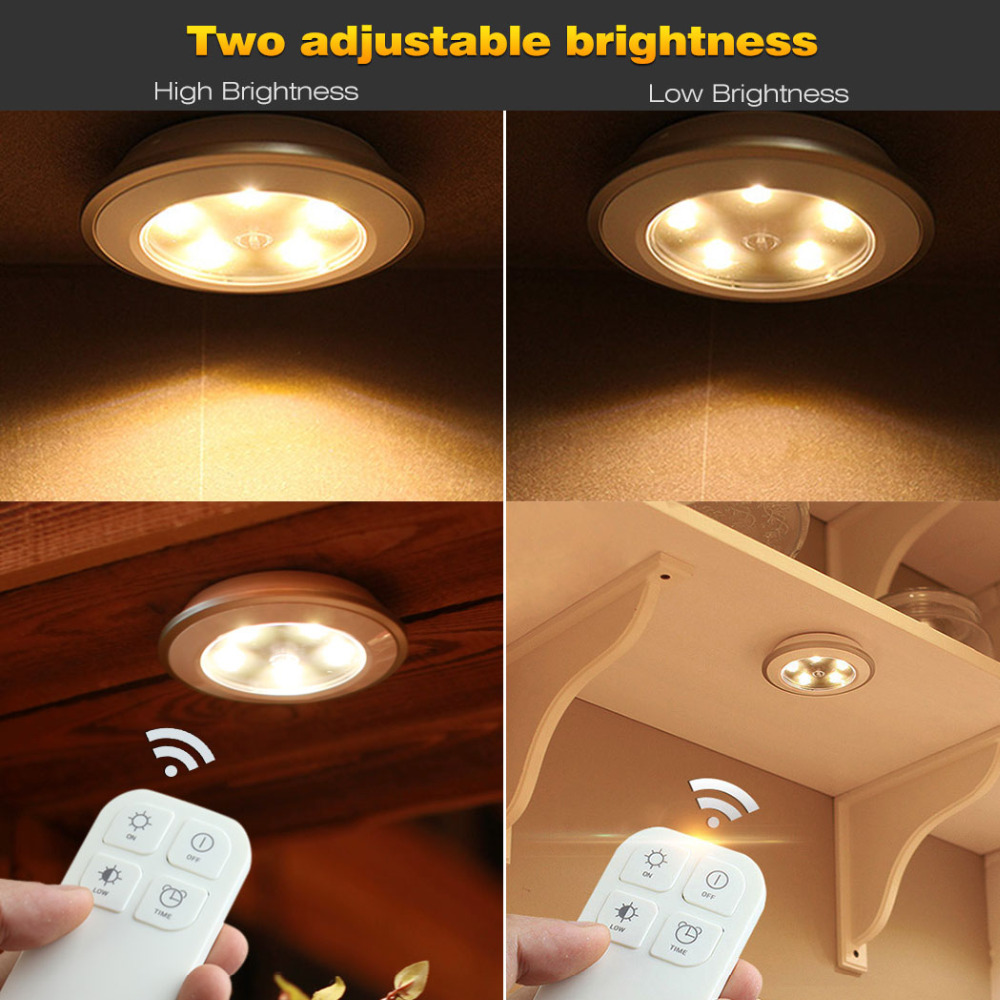 Morpilot 3pcs puck light wireless remote control 5 led rechargeable morpilot 3pcs puck light wireless remote control 5 led rechargeable cabinet light wireless spot light tap light for closets in smart remote control from aloadofball Choice Image