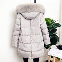 Зимняя куртка Для женщин длинный пуховик белая утка вниз плюс Размеры женские верхняя одежда меховой воротник с капюшоном Новая мода тонки