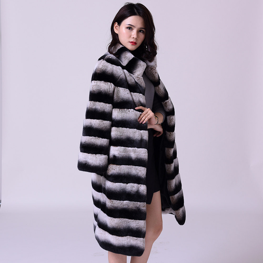 Chinchilla Real Fur Lexus Rex Rabbit Fur Coat Stand Collar Medium Length Fund  2019  New 27