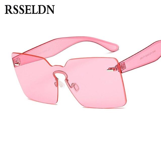 877650ca4 RSSELDN Moda Feminina Rosa Verde Sem Aro Óculos De Sol Das Mulheres  Clássico Designer Transparente Quadrado