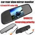 Assistência De Estacionamento Auto Night Vision 4.3 polegada 640x272 Reversa Espelho Monitor para Câmera de Visão Traseira Do Carro invertendo a prioridade