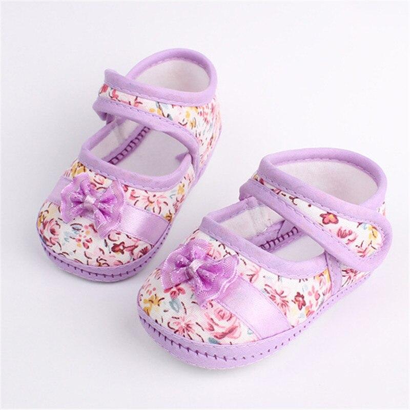 Zapatos del Bebé Impresa Flor Toddler Bebés Del Bowknot Prewalker Tamaño 4 5 6