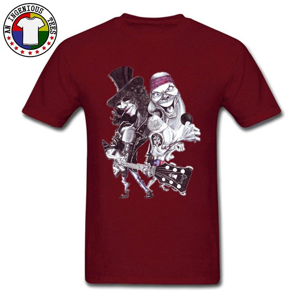 On Sale Man T Shirts O Neck Short Sleeve Pure Cotton Guns N Rose Cartoon Tops Shirts comfortable Tshirts Wholesale Guns N Rose Cartoon maroon