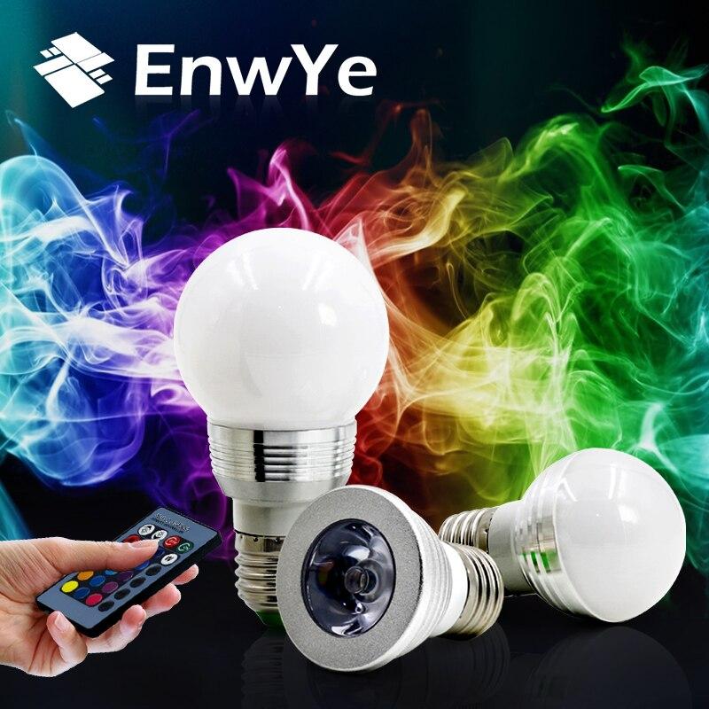 EnwYe E27 LED RVB Ampoule lampe AC110V 220 V 3 W 5 W Spot light dimmable De Vacances magiques RGB éclairage + IR Télécommande 16 couleurs