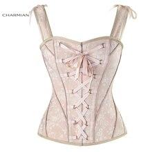 Charmian feminino sexy vitoriano vintage espartilho colete floral nupcial espartilhos overbust e bustiers com alças de ombro corselet