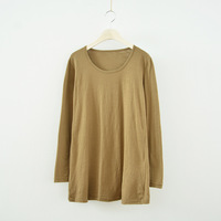 Original Japanese Fresh Spring Summer New Solid Color Wild Round Neck Long Sleeve Bamboo Cotton Backing