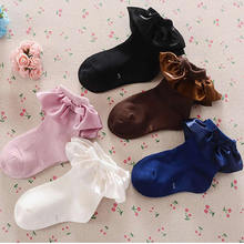 children's pure color socks female baby princess socks cotton socks on the new silk lace socks short thin princess infant cloth-in Tights & Stockings