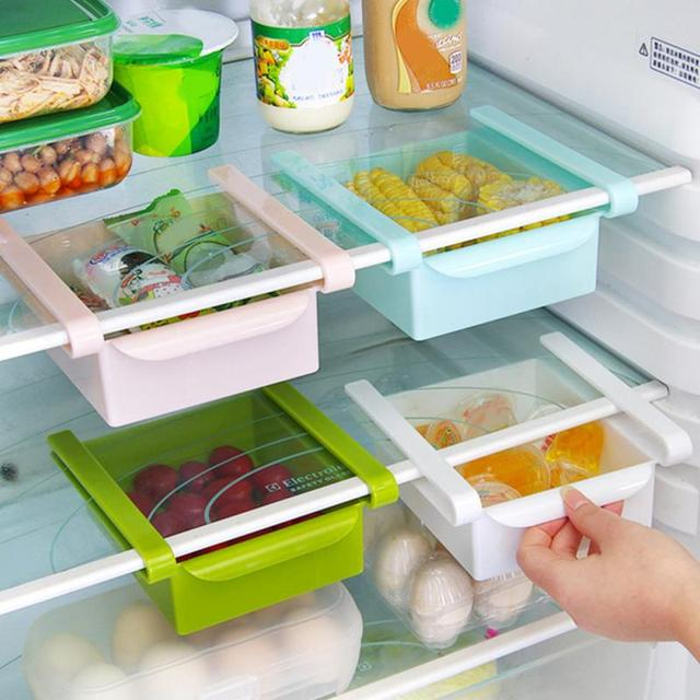 High quality ABS Refrigerator fresh spacer layer multi-purpose storage rack creative kitchen supplies twitch type glove box