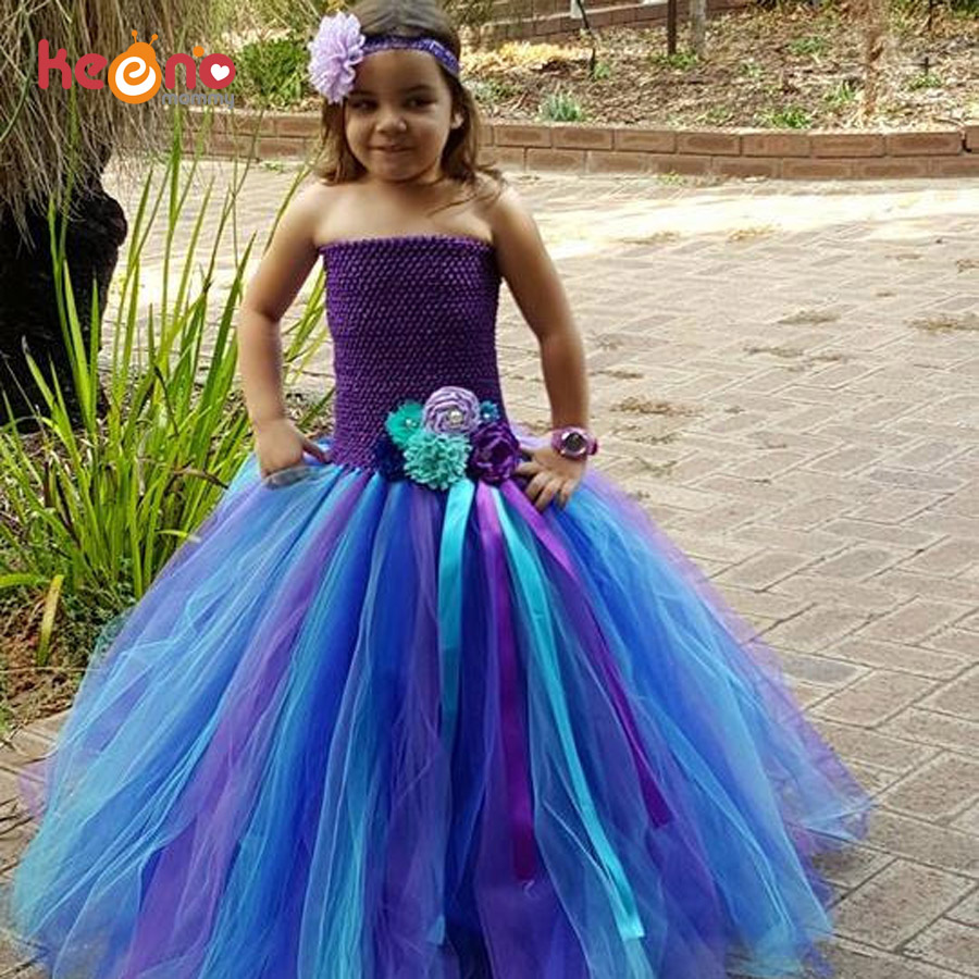 Keenomommy Peacock Full Length Flower Tutu Dress Girls Baby Dress with Headband Photo Prop Halloween Wedding Costume TS123 pocket full length tee dress