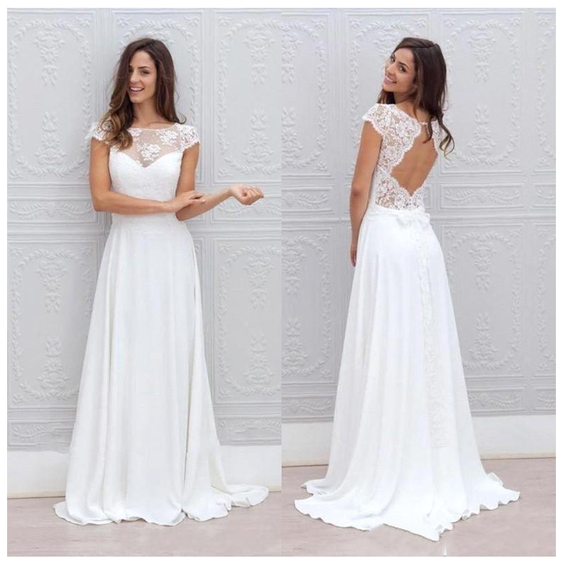 LORIE Simple Boho Wedding Dress Beach 2019 Robe De Mariee Off The Shoulder Bridal Dress Chiffon Wedding Dresses Spaghetti Straps