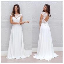 LORIE Simple Boho Wedding Dress Beach 2019 Robe de mariee Off The Shoulder Bridal Chiffon Dresses Spaghetti Straps