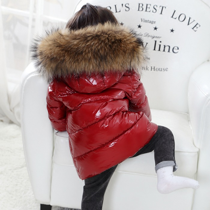 FTLZZ Shiny Coat Winter Kids Real Large Raccoon Fur Collar Duck Down Jacket 2018 Baby Boy Girl Thicken Snow Down Parkas furlove new real large raccoon fur winter coat women jacket coats collar thicken warm padded cotton lady parkas female jacket