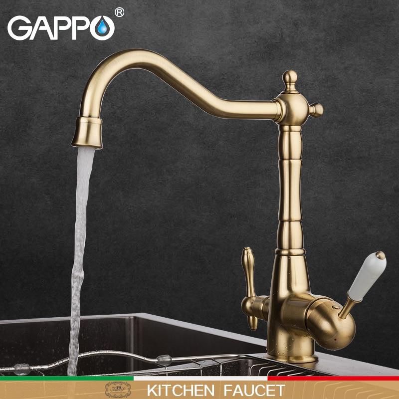 GAPPO kitchen faucet antique bronze kitchen mixer tap water taps deck mounted kitchen waterfall sink faucet