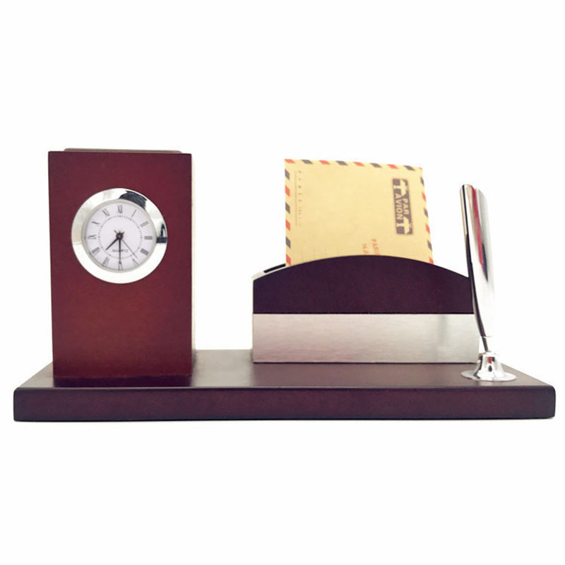 Solid Wood Pen Holder Clock and Personalized Creative Pen Clock Clock Solid Wood Alarm Clock